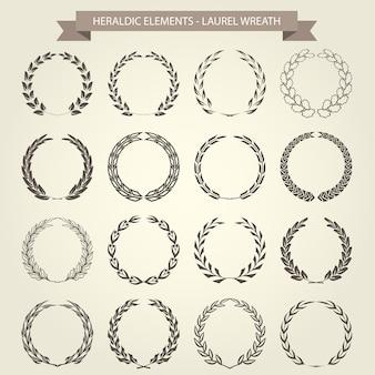 Conjunto de coronas de laurel en estilo heráldico