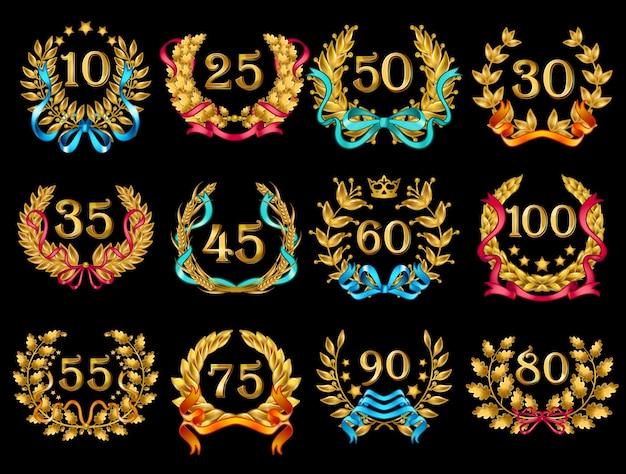 Conjunto de coronas de oro adornado de dibujos animados