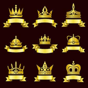 Conjunto de coronas de oro y banner de cinta