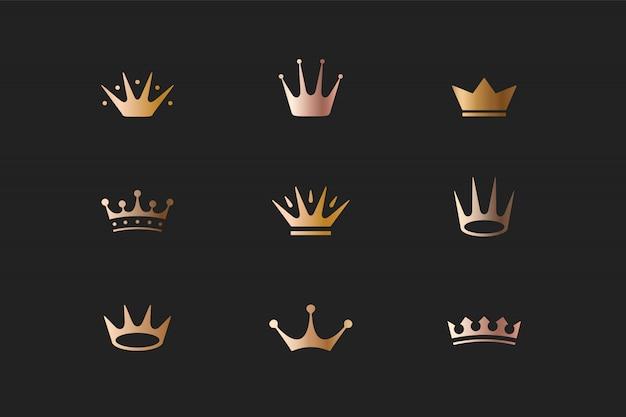 Conjunto de coronas de oro real, iconos y logotipos