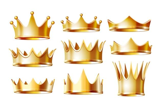 Conjunto de coronas de oro para rey o monarca, tiara de reina o princesa, tocado de príncipe. signo imperial heráldico clásico. ceremonia de coronación de joyas y emperador, tema de la monarquía. vector aislado en blanco