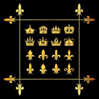 Conjunto de coronas de oro vector y flor de lys negro