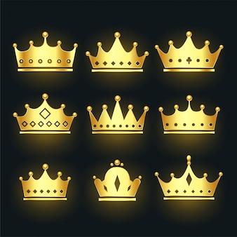 Conjunto de coronas premium en color dorado.
