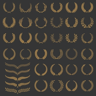 Conjunto de coronas y ramas. elementos para logotipo, etiqueta, emblema, insignia, signo. ilustración.