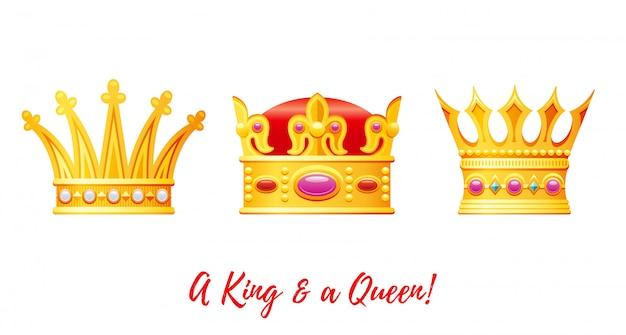 Conjunto de coronas de rey y reina de dibujos animados dorados.