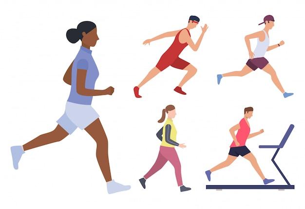 Conjunto de corredores masculinos y femeninos.