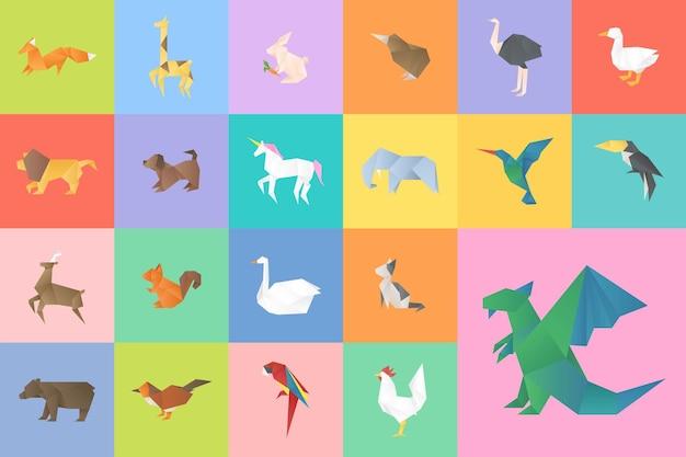 Conjunto de corte de arte de origami de vector de animales coloridos