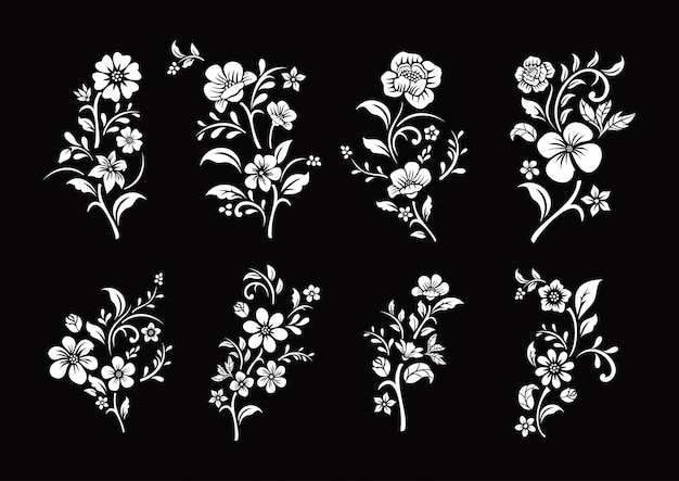 Conjunto de corte de flores en blanco y negro