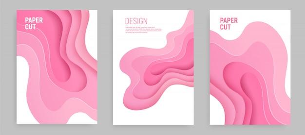 Conjunto de corte de papel rosa con fondo abstracto de limo 3d y capas de ondas de color rosa. diseño de diseño abstracto.