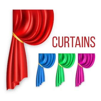 Conjunto cortina seda roja