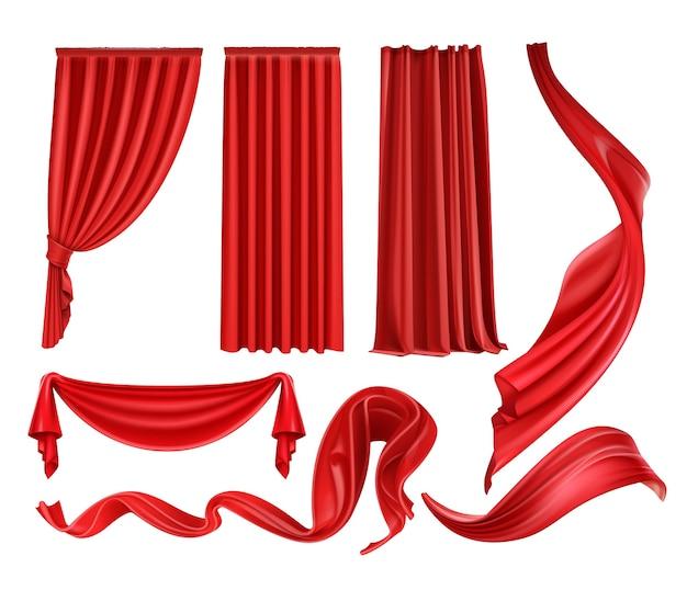 Conjunto de cortinas y cortinas de terciopelo de seda escarlata, tela roja ondeando aislado sobre fondo blanco.