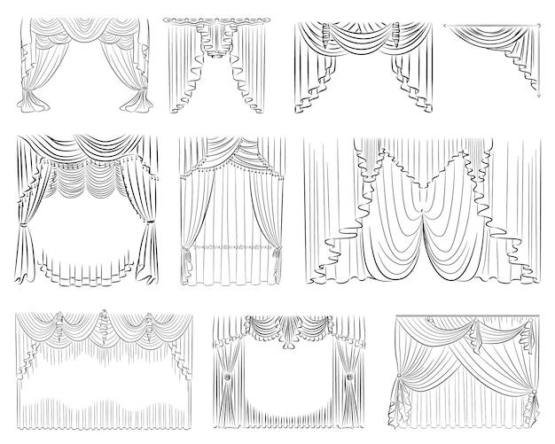 Conjunto de cortinas de lujo.