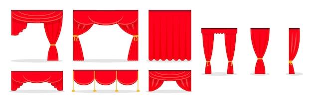 Conjunto de cortinas rojas aislado en blanco