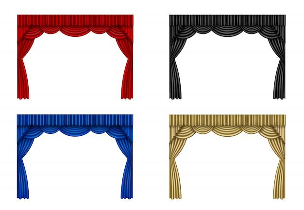 Conjunto de cortinas rojas, negras, azules y doradas.