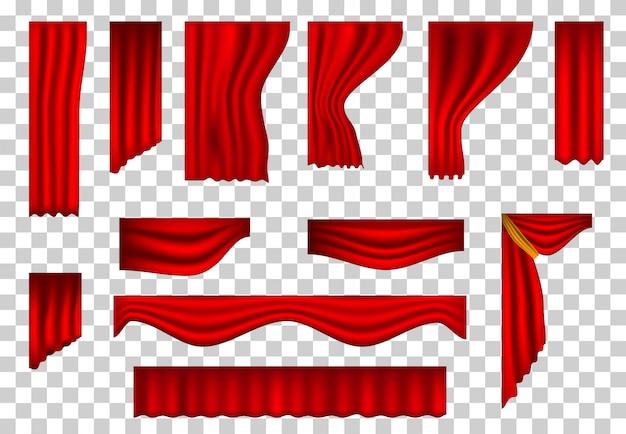 Conjunto de cortinas de teatro realistas.