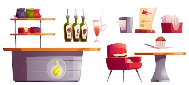 Conjunto de cosas de interior de cafetería o cafetería
