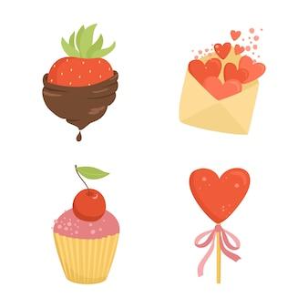 Conjunto de cosas románticas, dulces, fresas en chocolate