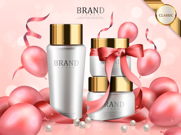 Conjunto cosmético romántico, cintas rosas y globos como elementos decorativos, edición limitada de vacaciones en ilustración 3d