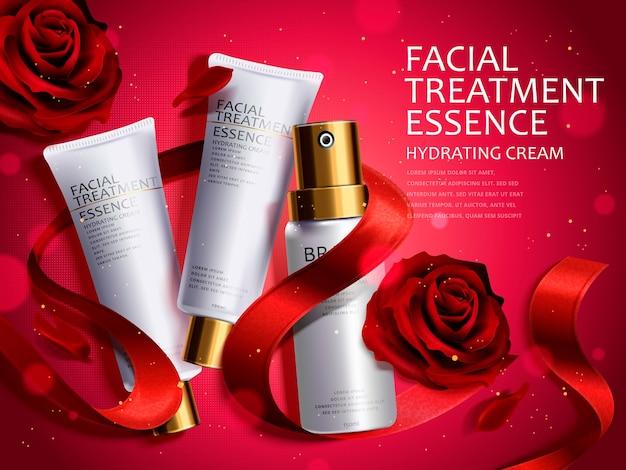 Conjunto cosmético romántico, hermosas rosas rojas y cintas aisladas en ilustración 3d, atmósfera brillante