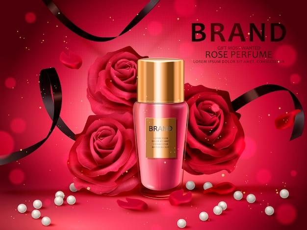 Conjunto cosmético romántico, perfume de rosas con rosas rojas, perlas blancas y cintas negras aisladas ilustración 3d