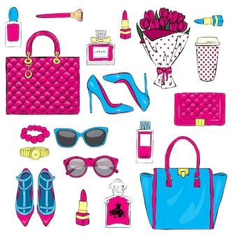 Conjunto de cosméticos y accesorios elegantes para mujer