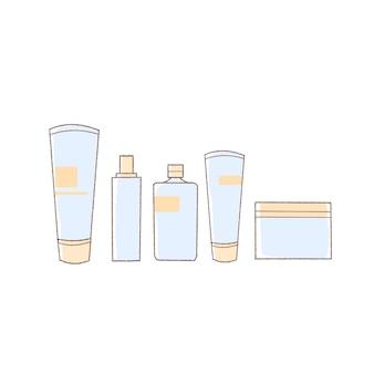 Conjunto de cosméticos básicos ilustración dibujada a mano.