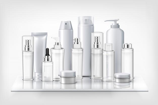 Conjunto de cosméticos botellas de plástico frascos y frascos en estante de vidrio ilustración realista