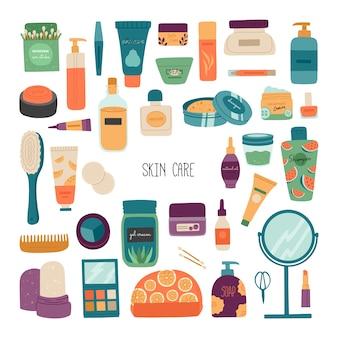 Un conjunto de cosméticos para el cuidado de la piel.