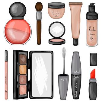 Conjunto de cosméticos de maquillaje. estilo de dibujos animados.
