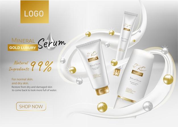 Conjunto de cosméticos vector realista fondo brillante con crema cosmética para el cuidado de la piel loción corporal en blanco