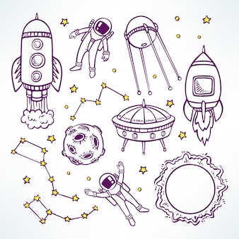 Conjunto cósmico con lindos cohetes de dibujo y astronautas. ilustración dibujada a mano