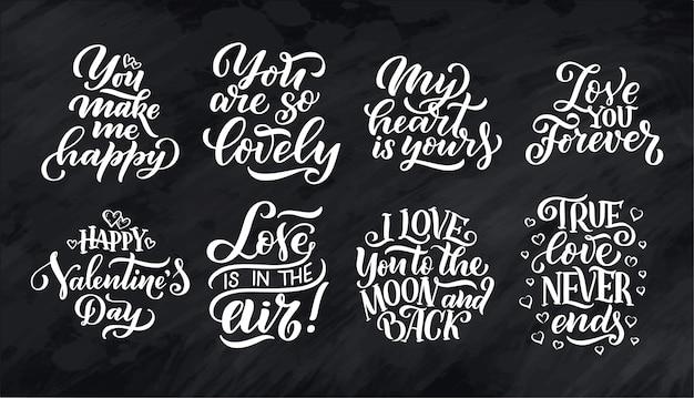 Conjunto de cotizaciones de letras sobre el amor