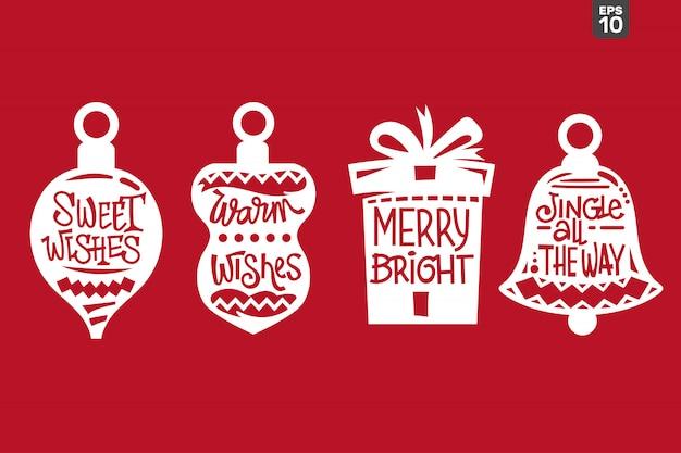Conjunto de cotizaciones de navidad. archivo de corte para pegatina y decoración