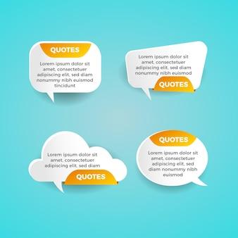 Conjunto de cotizaciones de papel de burbujas de discurso naranja