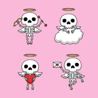 Conjunto de cráneos lindos en traje de ángel cupido