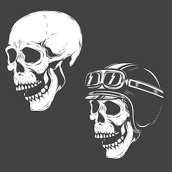 Conjunto de cráneos racer sobre fondo blanco. elementos para logotipo, etiqueta, emblema, póster, camiseta. ilustración.