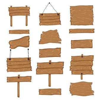 Conjunto de creación de letrero. construye tu propio diseño. tablas de madera de diferentes formas y tamaños. ilustración de estilo de dibujos animados - vector.