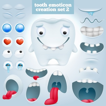 Conjunto de creación de personaje de dibujos animados diente emoticon.