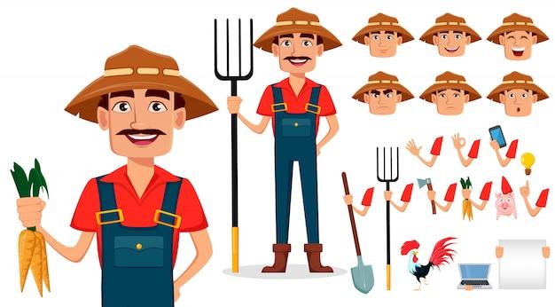 Conjunto de creación de personaje de dibujos animados de granjero