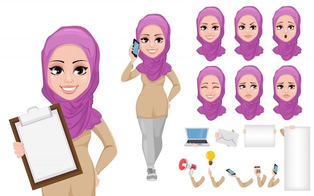 Conjunto de creación de personaje de dibujos animados de mujer de negocios árabe