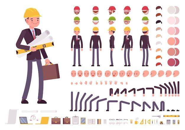 Conjunto de creación de personajes de arquitecto masculino