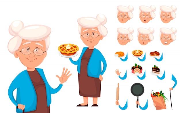 Conjunto de creación de personajes de dibujos animados de abuela