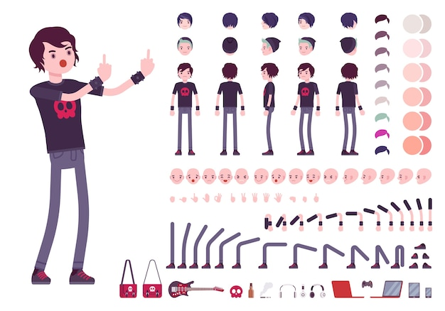 Conjunto de creación de personajes emo boy