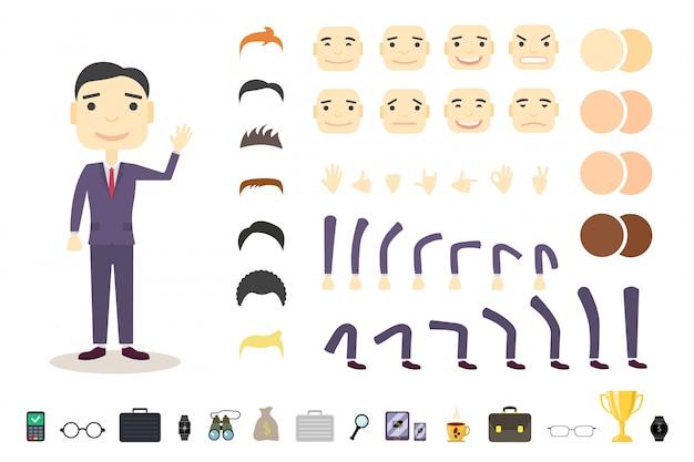 Conjunto de creación de personajes de empresario lindo. construye tu propio diseño.