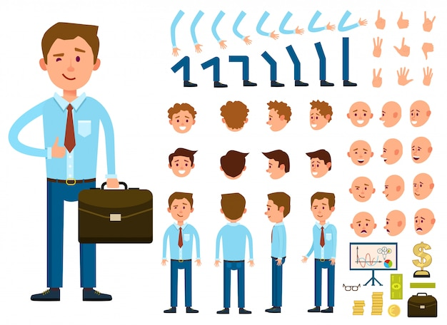 Conjunto de creación de personajes empresario persona