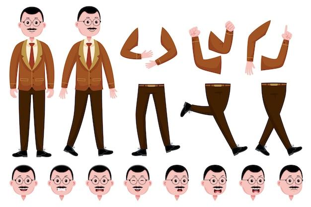 Conjunto de creación de personajes de maestro hombre