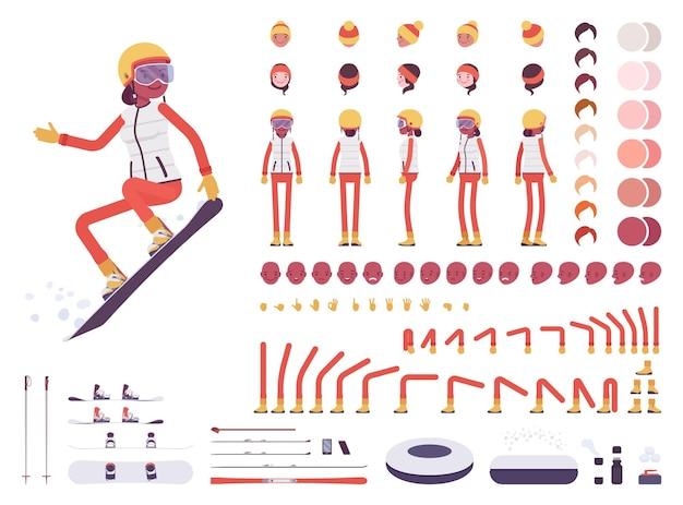 Conjunto de creación de personajes de mujer esquiador