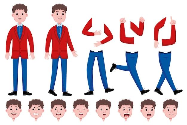 Conjunto de creación de personajes planos de estudiante hombre