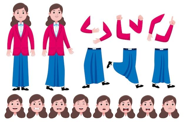 Conjunto de creación de personajes planos de estudiante mujer