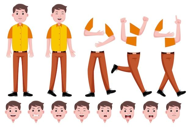 Conjunto de creación de personajes planos de hombre trabajador